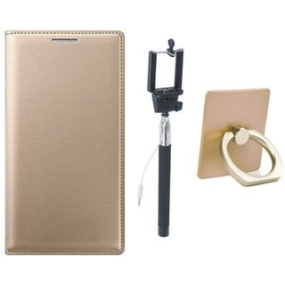Oppo A71 Leather Flip Cover with with Ring Stand Holder, Free Silicon Back Cover and Selfie Stick