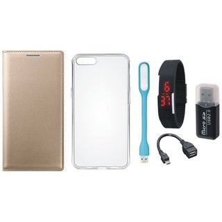 Vivo V9 Luxury Cover with Memory Card Reader, Silicon Back Cover, Digital Watch, OTG Cable and USB LED Light