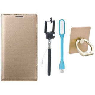 Oppo A71 Leather Flip Cover with with Ring Stand Holder, Selfie Stick and USB LED Light