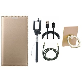 Oppo A71 Leather Flip Cover with with Ring Stand Holder, Selfie Stick, USB Cable and AUX Cable