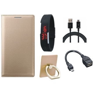 Oppo A71 Leather Flip Cover with with Ring Stand Holder, Digital Watch, OTG Cable and USB Cable