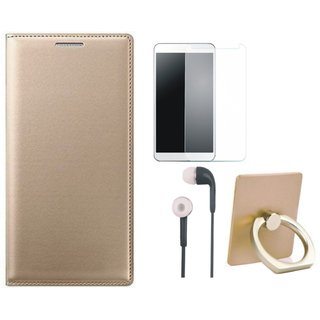 Oppo A71 Leather Flip Cover with with Ring Stand Holder, Earphones and Tempered Glass