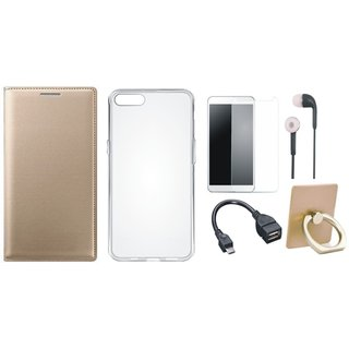 Oppo A71 Leather Flip Cover with with Ring Stand Holder, Silicon Back Cover, Tempered Glass, Earphones and OTG Cable