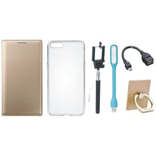 Oppo A71 Leather Flip Cover with with Ring Stand Holder, Silicon Back Cover, Selfie Stick, LED Light and OTG Cable