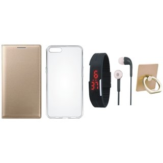 Oppo A71 Leather Flip Cover with with Ring Stand Holder, Silicon Back Cover, Digital Watch and Earphones