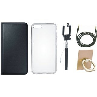 Samsung On7 Prime Leather Flip Cover with with Ring Stand Holder, Silicon Back Cover, Selfie Stick and AUX Cable