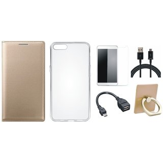 Oppo A71 Leather Flip Cover with with Ring Stand Holder, Silicon Back Cover, Tempered Glass, OTG Cable and USB Cable
