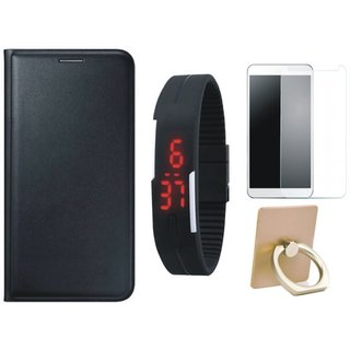 Samsung On7 Prime Leather Flip Cover with with Ring Stand Holder, Free Digital LED Watch and Tempered Glass