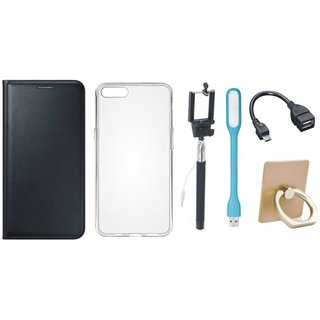 Samsung On7 Prime Leather Flip Cover with with Ring Stand Holder, Silicon Back Cover, Selfie Stick, LED Light and OTG Cable