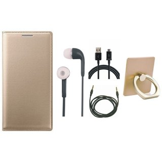 Oppo A71 Leather Flip Cover with with Ring Stand Holder, Earphones, USB Cable and AUX Cable