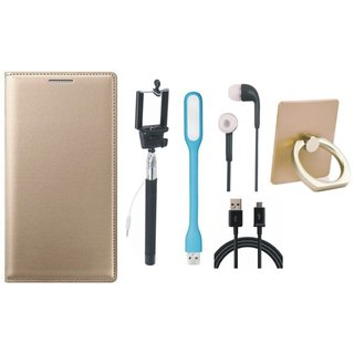 Oppo A71 Leather Flip Cover with with Ring Stand Holder, Selfie Stick, Earphones, USB LED Light and USB Cable