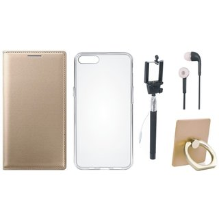 Oppo A71 Leather Flip Cover with with Ring Stand Holder, Silicon Back Cover, Selfie Stick and Earphones