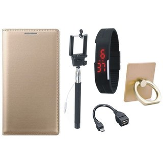 Oppo A71 Leather Flip Cover with with Ring Stand Holder, Selfie Stick, Digtal Watch and OTG Cable