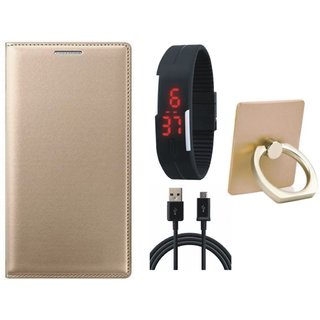 Oppo A71 Leather Flip Cover with with Ring Stand Holder, Digital Watch and USB Cable