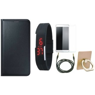 Samsung On7 Prime Leather Flip Cover with with Ring Stand Holder, Free Digital LED Watch, Tempered Glass and AUX Cable