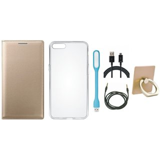 Oppo A71 Leather Flip Cover with with Ring Stand Holder, Silicon Back Cover, USB LED Light, USB Cable and AUX Cable