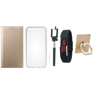 Oppo A71 Leather Flip Cover with with Ring Stand Holder, Silicon Back Cover, Selfie Stick and Digtal Watch