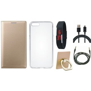 Oppo A71 Leather Flip Cover with with Ring Stand Holder, Silicon Back Cover, Digital Watch, USB Cable and AUX Cable