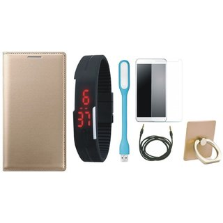 Oppo A71 Leather Flip Cover with with Ring Stand Holder, Free Digital LED Watch, Tempered Glass, LED Light and AUX Cable