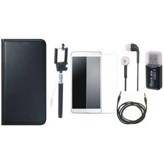 Redmi 5 Leather Cover with Memory Card Reader, Free Selfie Stick, Tempered Glass, Earphones and AUX Cable
