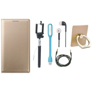 Samsung On7 Prime Leather Flip Cover with with Ring Stand Holder, Selfie Stick, Earphones, USB LED Light and AUX Cable