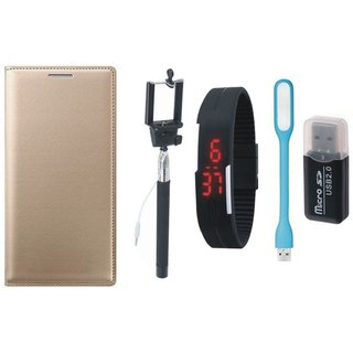 Redmi 5 Leather Flip Cover with Kick Stand with Memory Card Reader, Selfie Stick, Digtal Watch and USB LED Light