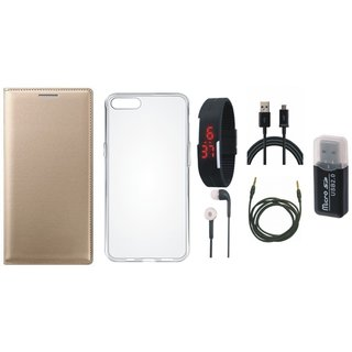Redmi 5 Leather Flip Cover with Kick Stand with Memory Card Reader, Silicon Back Cover, Digital Watch, Earphones, USB Cable and AUX Cable