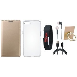 Samsung On7 Prime Leather Flip Cover with with Ring Stand Holder, Silicon Back Cover, Digital Watch, Earphones and USB Cable