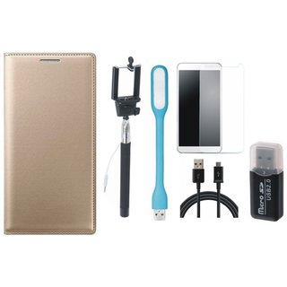 Redmi 5 Leather Cover with Memory Card Reader, Free Selfie Stick, Tempered Glass, LED Light and USB Cable