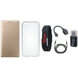 Redmi Note 5 Flip Cover with Memory Card Reader, Silicon Back Cover, Digital Watch, OTG Cable and AUX Cable