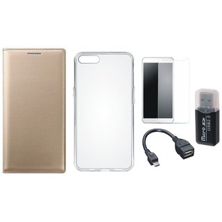 Redmi Note 5 Cover with Memory Card Reader, Silicon Back Cover, Tempered Glass and OTG Cable