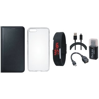 Redmi Note 5 Stylish Cover with Memory Card Reader, Silicon Back Cover, Digital Watch, OTG Cable and USB Cable