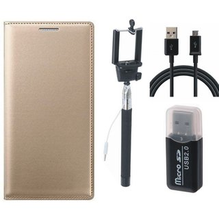 Redmi Note 5 Leather Flip Cover with Kick Stand with Memory Card Reader, Selfie Stick and USB Cable