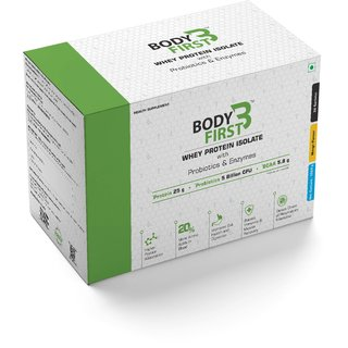 BodyFirst Whey Protein Isolate with Probiotics and Enzymes Mango Flavour 32 Servings 1 kg