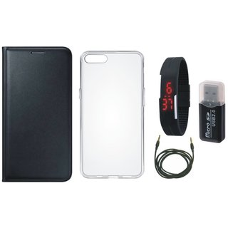 Redmi Note 5 Pro Leather Cover with Memory Card Reader, Silicon Back Cover, Digital Watch and AUX Cable