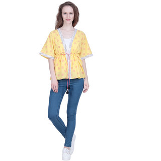 The Kalashop Yellow Cotton Cambric Block Print Front Open Jacket Shrug For Women