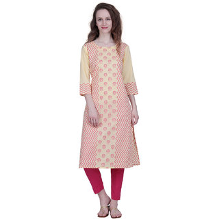 The Kalashop Cotton Cambric Block Print Yellow Kurti with Cotton Flex Trousers For Women