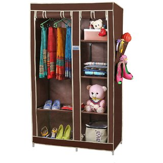 NP NAVEEN PLASTIC Fancy Multipurpose Clothes Closet Portable Wardrobe Storage Organizer with Shelves ( BROWN )