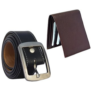 Sunshopping mens black leatherite needle pin point buckle belt with brown leatherite bifold wallet (combo) (Synthetic leather/Rexine)