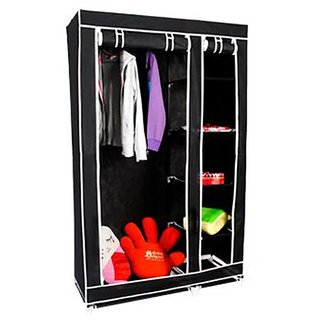 NP NAVEEN PLASTIC Fancy Multipurpose Clothes Closet Portable Wardrobe Storage Organizer with Shelves ( BLACK )