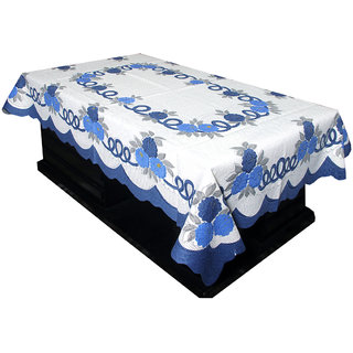 Kuber Industries Center Table Cover Cream & Blue Cloth Net For 4 Seater 40*60 Inches (Floral  Design) Code-CTC01