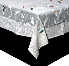 Kuber Industries Dining Table Cover Cream Cloth Net For 6 Seater 60*90 Inches (Leaf Design)