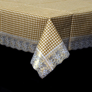 Kuber Industries Light Brown Checkered Design Waterproof Dining Table Cover 6 Seater (60*90 inches)