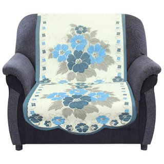 Kuber Industries 6 Pieces Cream & Blue Flower Sofa and Chair Cover Set For 5 Seater (Code-SFL09)