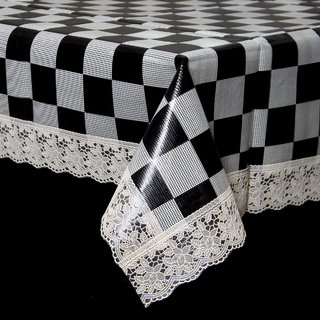 Kuber Industries Black & Cream Checkered Design Waterproof Dining Table Cover 6 Seater (60*90 inches) Cream Lace Code-DTT50