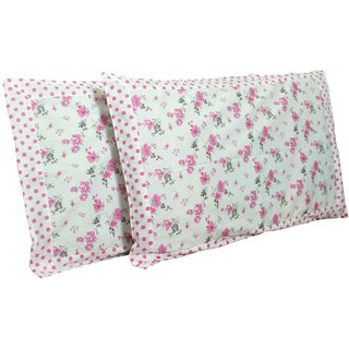 Kuber Industries Exclusive Pink Flower Print Premium Cotton Pillow Cover -Set of 2 Pcs (White) Code-Pillowc06