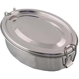 Kuber Industries Stainless Steel Rectangular Shape Lunch Box | School Lunch Box Set of 1 Pc (Regular Size) Code-STLN02