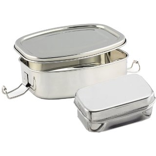 Kuber Industries Stainless Steel Rectangular Shape Lunch Box | School Lunch Box Set of 1 Pc (Regular Size) Code-STLN03