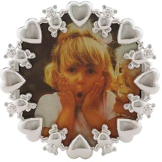 Frazer  Haws 92.5 Silver Plated Round Photo Frame - With Bear  Heart Rim