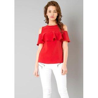 Rosella RED Ruffled Crap Top